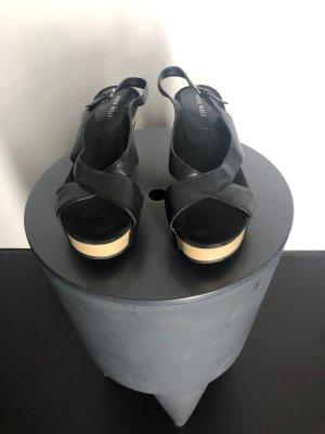 Nine west Platform Sandals black-oatmeal leather