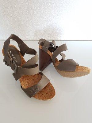 NINE WEST Sandaletten, Gr.36, grau/taupe, Kork