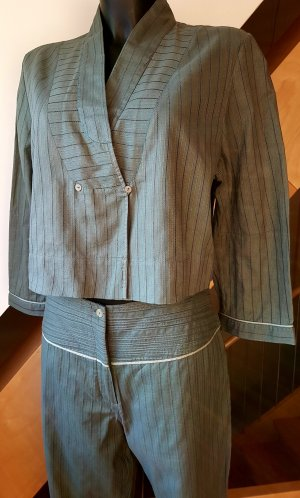 Leisure suit olive green-silver-colored cotton