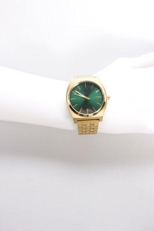 Nixon Uhr mit Metallband goldfarben-waldgrün Logo-Applikation