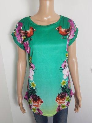 NKD Damen Tunika Bluse Shirt Blumenmuster kurzarm Größe M 38 grün
