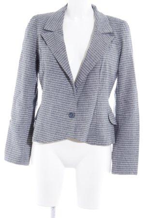 NKD Kurz-Blazer graublau-weiß Streifenmuster Elegant