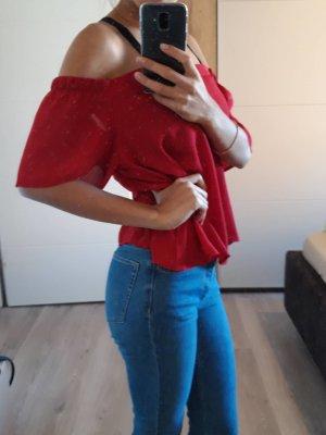 NL Schulterfreie Damenbluse, Rot Größe 38