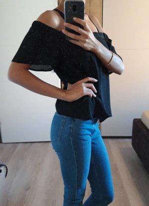 NL Schulterfreie Damenbluse, Schwarz Größe S