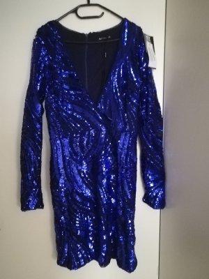 NLY Robe à paillettes bleu-bleu foncé