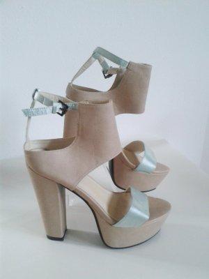 NLY Plateau - Sandalen Gr. 37 wie NEU Soft Pastellfarben High Heels