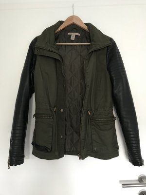 NLY Trend Leren jack zwart-khaki