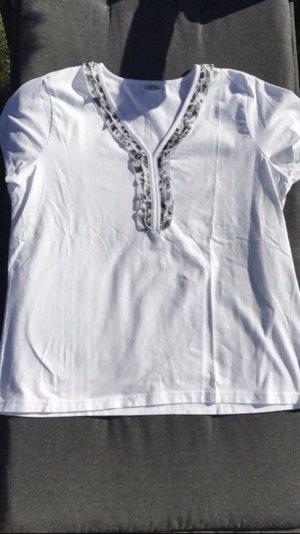 No1 Mode Express T-shirt col en V blanc-gris clair coton
