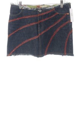 No.l.ita Spijkerrok donkerblauw-roodbruin Jeans-look