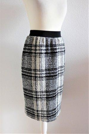 No-Na Bleistift Rock Wolle kariert schwarz weiß grau Gr. 34/36 XS S