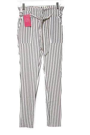 no name Pantalon 7/8 blanc-noir motif rayé style décontracté