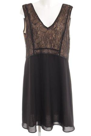 Noa Noa A-Linien Kleid schwarz-nude florales Muster Casual-Look