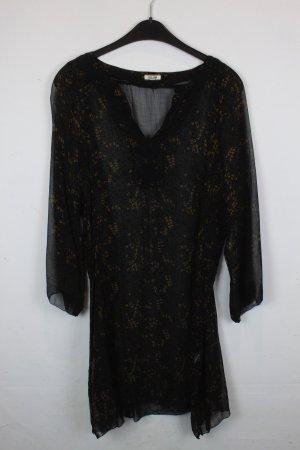Noa Noa Kleid Tunika Gr. L durchsichtig schwarz floral gemustert gold (18/2/590)
