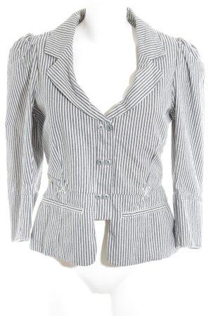 Noa Noa Kurz-Blazer weiß-grau Streifenmuster Business-Look