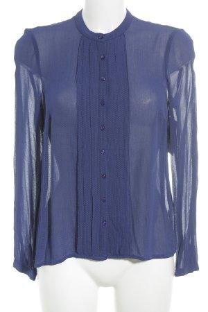 Noa Noa Langarm-Bluse dunkelblau-ocker Punktemuster Business-Look