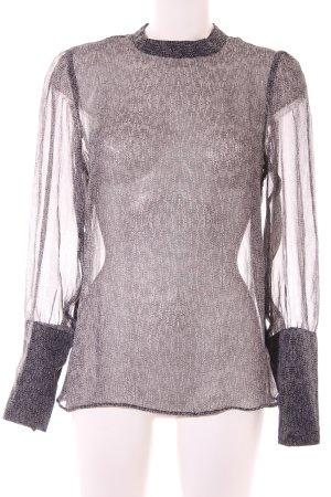 Noa Noa Langarm-Bluse schwarz-creme abstraktes Muster Elegant