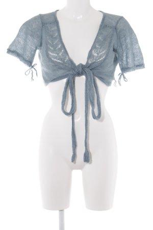 Noa Noa Knitted Bolero cornflower blue weave pattern romantic style