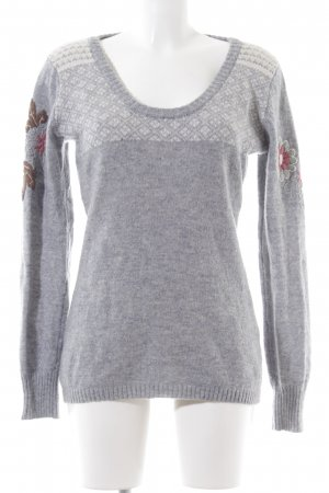 Noa Noa Knitted Sweater light grey-white flecked casual look