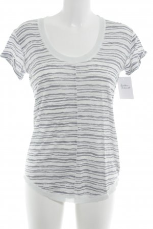 Noa Noa T-Shirt weiß-graublau Streifenmuster Casual-Look