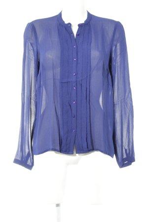 Noa Noa Transparenz-Bluse blau-cognac Punktemuster Casual-Look