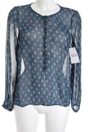 Noa Noa Transparenz-Bluse petrol-creme florales Muster Casual-Look