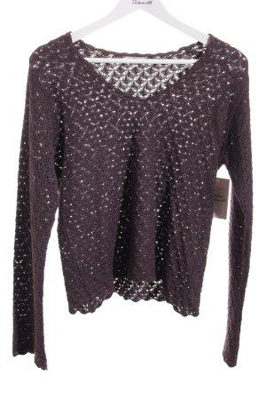 Noa Noa V-Ausschnitt-Pullover dunkelbraun Casual-Look