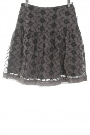 Noa Noa Flounce Skirt black-anthracite flower pattern classic style