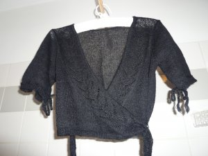 Noa Noa Knitted Wrap Cardigan black wool
