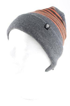 Nobis Knitted Hat grey-orange striped pattern casual look