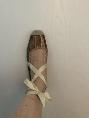 Nobrand echt Leder Ballerina Gr. 38 metallic Np 99 Euro Satinband