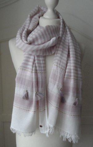 noch bis zum 28.02 zu haben: edler Esprit Schal mit Quasten Weiß Lila wenig getragen