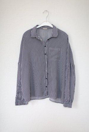 Noisy May Bluse Hemd Streifen Streifenbluse Blau Oversized Vintage Stil Gr. S