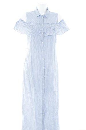 Noisy May Hemdblusenkleid wollweiß-graublau Streifenmuster