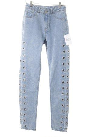 Noisy May High Waist Jeans blassblau Street-Fashion-Look
