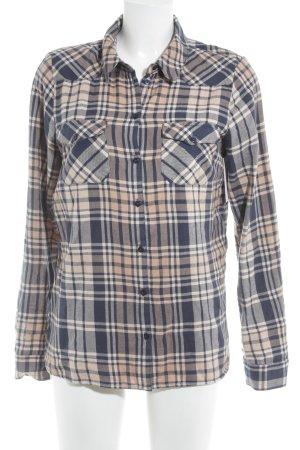 Noisy May Houthakkershemd donkerblauw-nude geruite print casual uitstraling