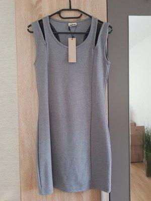 Noisy May Kleid grau kurz Netzeinsatz