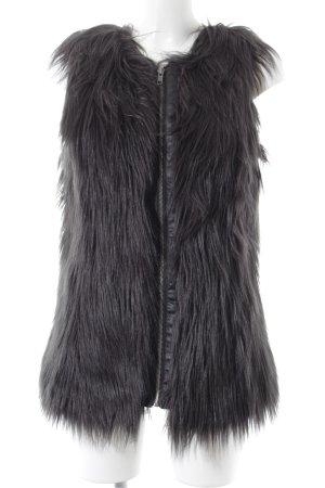 Noisy May Vest van imitatiebont zwart dierenprint extravagante stijl