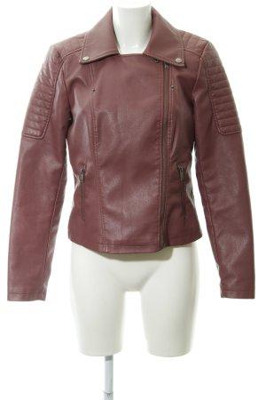 Noisy May Veste en cuir synthétique rouge framboise Look de motard