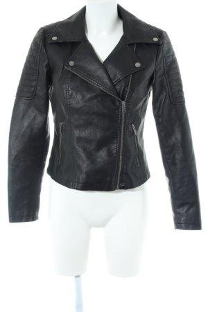 Noisy May Veste en cuir synthétique noir-argenté style décontracté