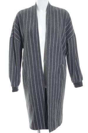 Noisy May Lange Jacke grau-weiß Streifenmuster Casual-Look