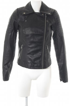 Noisy May Veste en cuir noir style décontracté