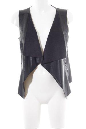 Noisy May Leren vest zwart casual uitstraling