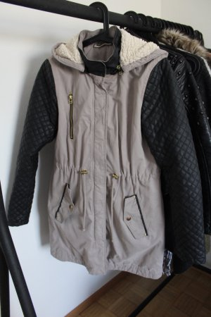Noisy May Manteau à capuche beige clair-noir