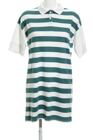 Noisy May Polo Dress natural white-dark green striped pattern casual look