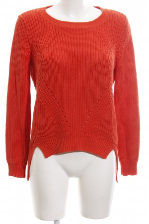 Noisy May Rundhalspullover rot Zopfmuster Casual-Look