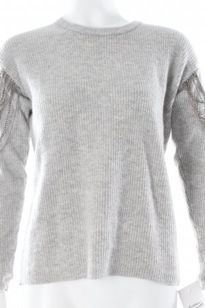 Noisy May Kraagloze sweater lichtgrijs Biker-look