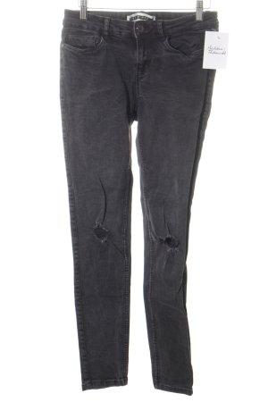 Noisy May Skinny Jeans dunkelgrau Destroy-Optik