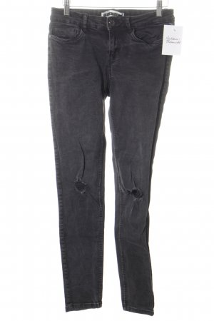 Noisy May Skinny Jeans dunkelgrau Destroy-Optik