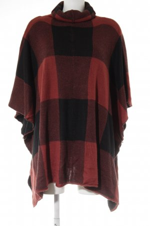Noisy May Strickponcho schwarz-rostrot Karomuster Casual-Look