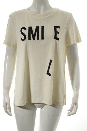 Noisy May T-Shirt creme Schriftzug gedruckt sportlicher Stil